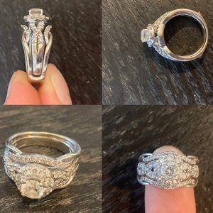 Engagement ring wedding band bridal set size 7